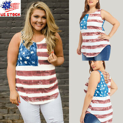Womens American Flag Shirt 4th of July Patriotic Tops T Shirt Blouse Plus Size