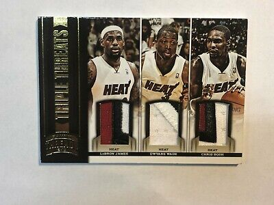 2012-13 Threads LeBron James D Wade - Bosh 9 COLOR TRIPLE PATCH HEAT 125 POP 1