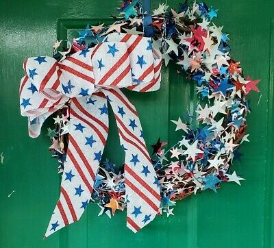Fourth Of July Wreath Handmade  Grapevine wreath  Stars and stripes 4th of july