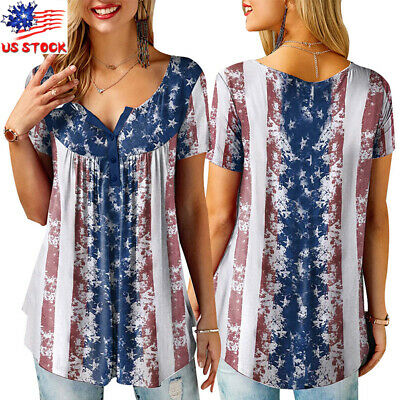 Plus Size Women American Flag Splice Tops Ladies Summer 4th of July Loose Blouse