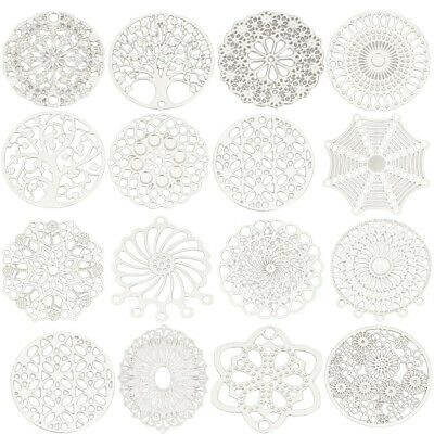 Metal Filigree Stamping Connectors Fan-shaped Round Jewelry Findings 10 PCs