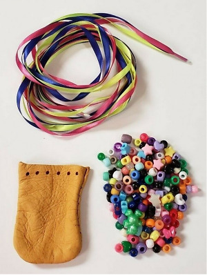 Craft Kit for Kids Girls 1 Each Leather Fairy Bag Pouch Handmade Ribbon Beads