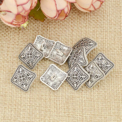 50Pcs Square Antique Silver Floral Carved Shank Buttons Sewing Craft Metal USA