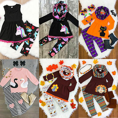 US Unicorn Kids Baby Girl Outfit Clothes T-shirt Top Dress-Floral Pants Leggings