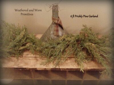 Primitive Country Faux Prickly Pine 6 Ft- Winter Christmas Garland