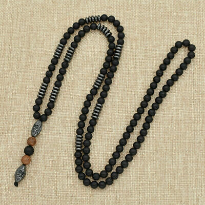 Mens Hematite Carving Bead Necklace Long Chain Rope Pendant Black Jewelry USA