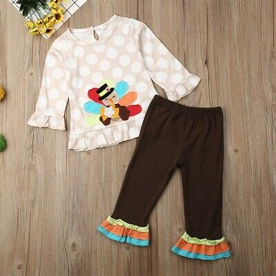 US Kids Baby Girl Turkey Print 2PCS Outfits Clothes Top Shirt Pants Trousers
