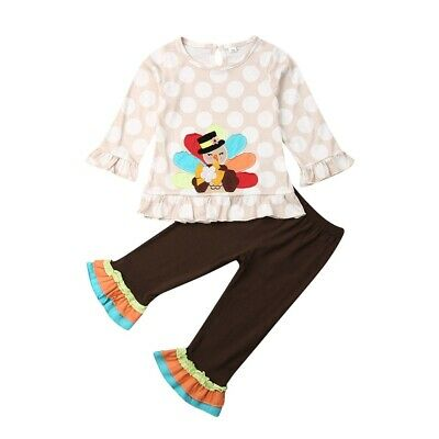 US Stock Kid Baby Toddler Girl Thanksgiving Day Outfit Clothes set Shirt Pants