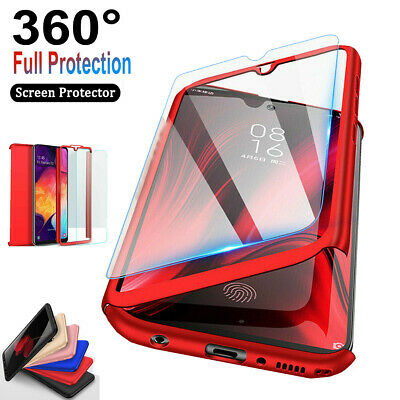For Samsung Galaxy A10e A20 A30 A50 360°Shockproof Case-Tempered Glass Protector