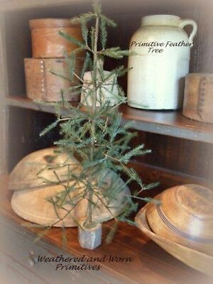 Primitive Country Faux Feather Christmas Tree with Wood Base 16 Tall
