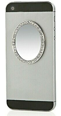 Bling Phone Mirror Silver Oval w Crystals Phone Cases Tablets Laptops