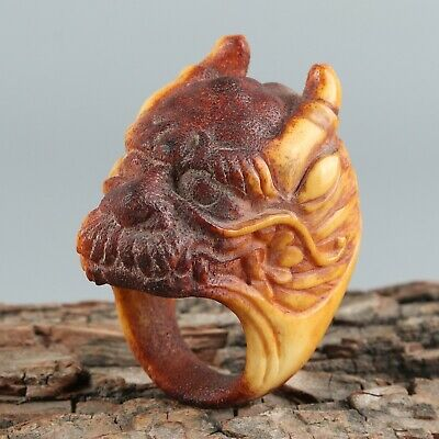 Chinese Exquisite Hand-carved Dragon Carving antlers Thumb ring