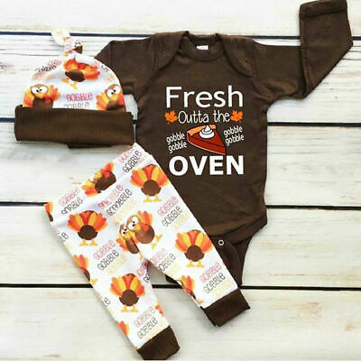 US My First Thanksgiving Infant Baby Boy Girl Romper Pants Hat Outfits Clothes