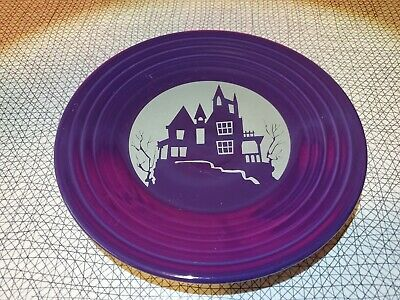 Discontinued Fiestaware Haunted House 9 Luncheon Plate On Plum