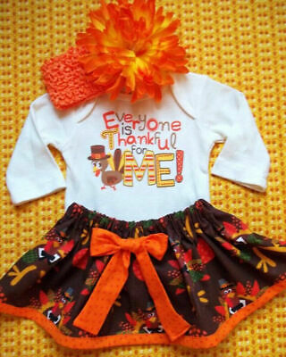 US My First Thanksgiving Infant Baby Girl Romper Dress Headband Outfits Clothes