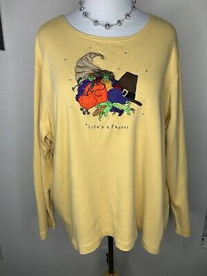 Womens Quacker Factory 2X Thanksgiving Feast Embellished Long Sleeve Top