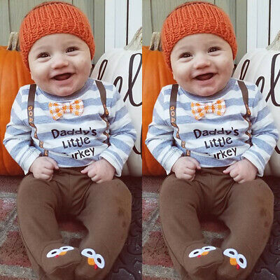 Toddler Kids Thanksgiving Day Baby Boy Clothes Tops Romper-Hat-Socks Outfit Set