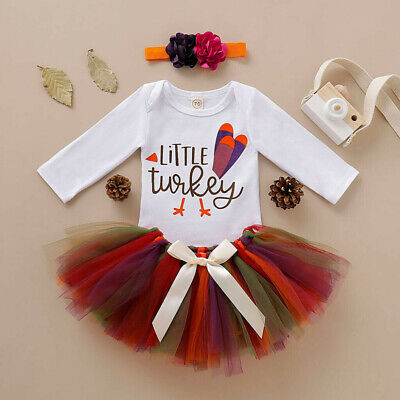 US My First Thanksgiving Infant Baby Girl Romper Fancy Tutu Dress 3PCS Clothes