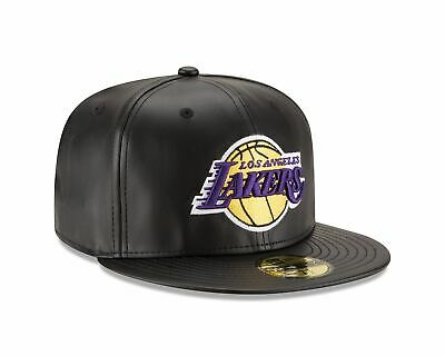 70344054 Mens New Era NBA 59Fifty Faux Leather Fitted Cap Los Angeles Lakers
