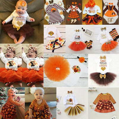 My 1st Thanksgiving Clothes Newborn Baby Girl Clothes Tops Romper-Skirt Outfit