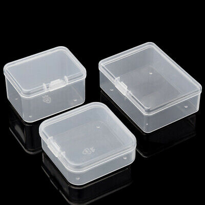 10 Pcs Plastic Storage Box Small Clear Jewelry Organizer Case Container Tool USA