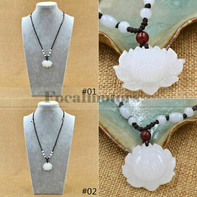 Natural White Jade Lotus Necklace Womens Pendant Lucky Charm Jewelry Gift USA
