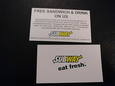 Subway Free Sandwich - Drink Voucher NO EXPIRATION Shipping 1 Business Day