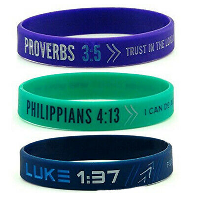 Philippians Luck Proverbs Bible Silicone Bracelet Wristband Womens Mens Jewelry
