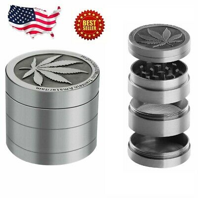 Tobacco Herb Grinder Spice Herbal Alloy Smoke Crusher 4 Piece Metal Chromium 1-5