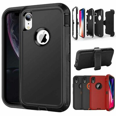 iPhone XR XS Max 12 Case Heavy Duty Stand Belt Clip Cover Fits Otterbox Defender