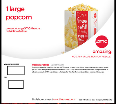 AMC LARGE POPCORN-EXPIRES 6302020-EMAIL DELIVERY