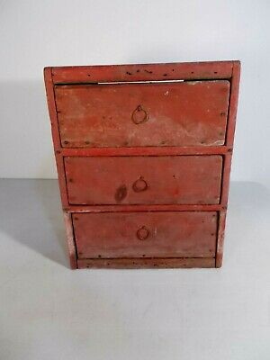 Antique Primitive Country Old Red Painted Set of 3 Draws