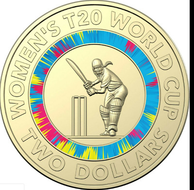 2020 ICC Women's T20 World Cup Cricket Coloured 2 Coin -UNC