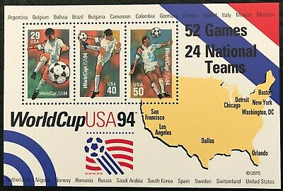 1994 - Scott 2837 - 1-19 - WORLD CUP 94 - Souvenir Sheet of 3 Mint NH