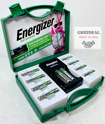 Energizer Rechargeable Batteries Kit w Charger 6 AA - 4 AAA Adapters C D NEW
