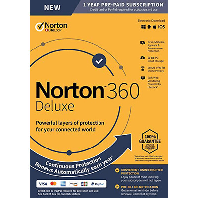 Norton 360 Deluxe 2021- 1-Year - 3-Device- US Canada Real-time Threat Protection