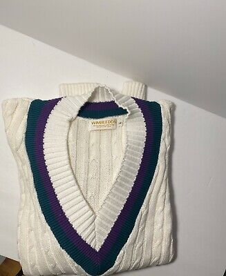 Vintage Wimbledon Cable Knit Sweater Purple Green V Neck Large England Lawn Club
