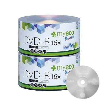 100 Pack MyEco DVD-R DVDR 16X 4-7GB Economy Branded Logo Blank Recordable Disc
