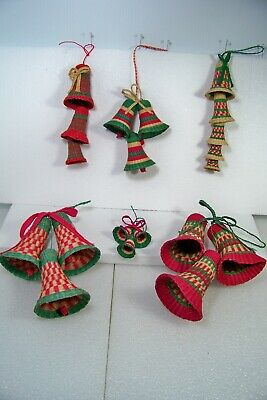 VINTAGE CHRISTMAS BELLS WOVEN GRASS TREE ORNAMENTS CASCADING - CLUSTERS UNIQUE