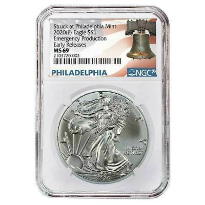2020 P 1 American Silver Eagle NGC MS69 Emergency Production ER Liberty Bell