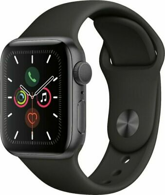 Apple Watch Series 5 44mm Space Gray Aluminum Case Black Sport Band MWVF2LLA