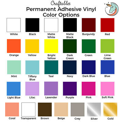 Craftables Adhesive Vinyl Sheet 12 x 12 Permanent Craft Outdoor for Cricut