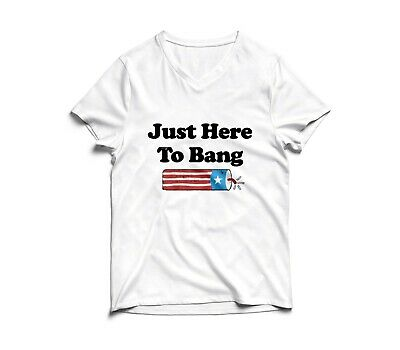 Just Here To Bang 4th of July Funny Fireworks USA American Flag V-neck T-shirt