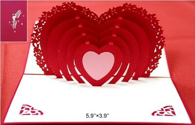 3D Pop Up Heart Greeting Card for Mom Mother's Day Anniversary Love Birthday