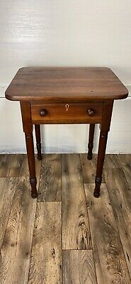 Beautiful Antique Primitive Single Drawer Side Table With Turned Pegged Legs
