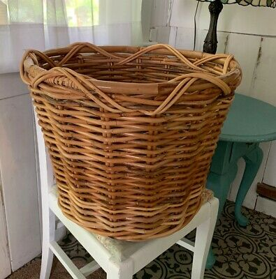 Large Oversize Wicker Woven Basket Natural 19-5d x 16h