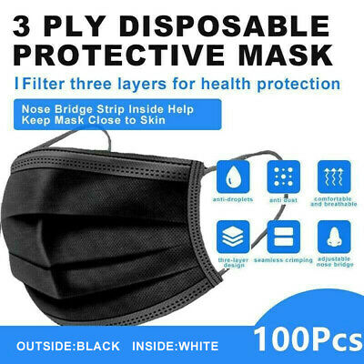 100 Pcs Black Face mask 3 Ply Disposable Face Mask Non Medical Surgical mask