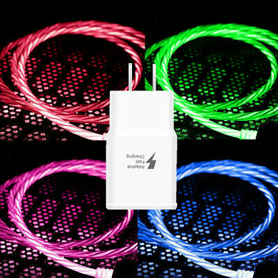 LED flowing Light Up USB 3-1 Type C Data Charging Cable - AC Wall Charger Kit US