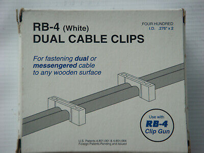 1 400 count box of Telecrafter RB-4 Dual Cable ClipsStaples White 66WS