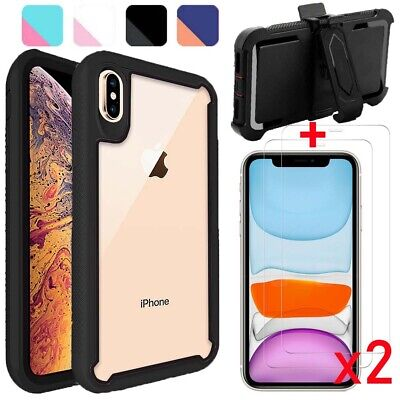 For iPhone X Xs Max XR Case Shockproof Armor Hard Cover-Tempered GlassBelt Clip